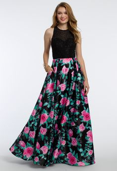 Stroll through the garden in this blossoming ball gown dress! The scoop neckline, fitted Jersey bodice, ballgown printed skirt, and open keyhole back give this prom dress a pretty feel. #CLVprom17 #camillelavie