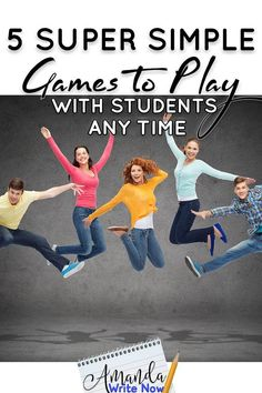 5 Super Simple Games to Play with Your Class - Amanda Write Now Classroom Games High School, Middle School Games, High School Activities, Classroom Fun, Fun School Games, Classroom Procedures, Baby Activities, Classroom Activities, Classroom Management