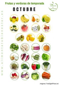 Frutas y verduras de temporada para octubre #alimentatubienestar Sigue el enlace de la imagen y descárgate el calendario en pdf para todo el año