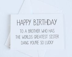 Brother Birthday Card Sister to Brother Birthday by OrangeCricket