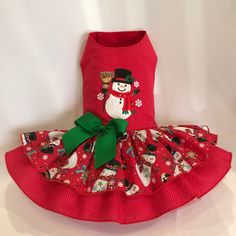 Cute Snowman Dog Dress By Little Paws Boutique Puppy Clothes Girl, Small Dog Clothes, Pet Clothes, Pet Stroller, Fabric Hair Bows, Dog Clothes Patterns, Pet Peeves, Cute Snowman, Pet Costumes