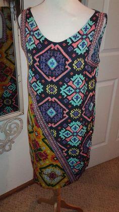 RACHEL ROY Ladies Tunic Dress Multi-Color SZ L Aztec like design contrast trim #RachelRoy #Tunic #Casual