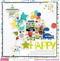 Birthday Scrapbook Layouts, Scrapbook Sketches, Scrapbook Page Layouts, Baby Scrapbook, Wedding Scrapbook, Birthday Blast, It's Your Birthday, Project Life Scrapbook, Art Lessons Elementary