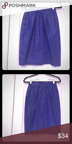 Yucatán Bay skirt designer leather blue pencil Excellent condition genuine leather skirt, perfect with white top for summer 🌴 no stains, no marks, pet free, smoke free home designer Yucatán Bay zipper back closure. Has some stretch and has lining. Vintage royal blue color for summer! Size 8 yucatan bay Skirts Pencil