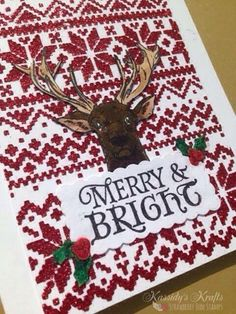 """A Christmas card using the stamp sets, """"Tag It: Christmas"""" and """"Note It: Letter to Santa"""" from Strawberry Jude Stamps."""