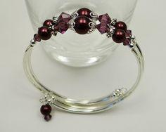 Memory Wire Bracelet Amethyst Purple von ABeadApartJewelry auf Etsy