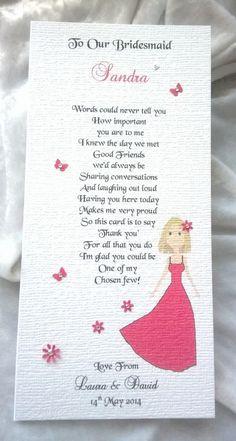 Bridesmaid Maid Of Honour Flower Girl Personalised Keepsake Thankyou Poem Card