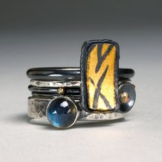 Labradorite stacked rings by Wendy Thurlow. Metal Jewelry, Jewelry Art, Jewelry Rings, Jewelry Design, Jewellery, Unusual Jewelry, Unique Rings, Handmade Rings, Handcrafted Jewelry