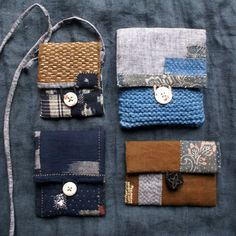 midnight indigo pouch in vintage Japanese kasuri cotton , hand sewn, hand embroidered and mended, inspired by sashiko and kantha, folk textiles...
