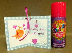 """I heart being silly with you!"" with Dollar store silly string"