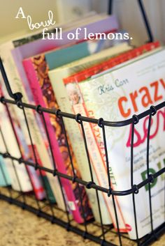 Like the display of cook books in a wire basket