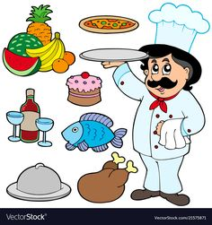 Cartoon chef with various meals vector image on VectorStock Preschool Jobs, Body Parts Preschool, Community Helpers Preschool, Preschool Learning Activities, Alphabet Activities, Teaching Kindergarten, Infant Activities, School Board Decoration, Cartoon Chef
