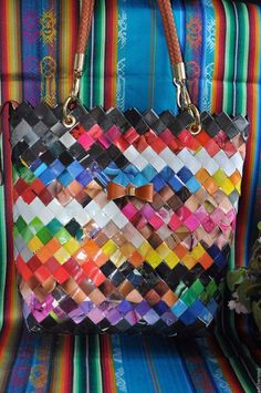 Handmade Large Recycled Materials bag Candy wrapper type L=10.63 H=12.60 W=3.94 #Handmade #ShoulderBag