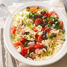 Greek Orzo Salad - made this with tomatoes and basil from the garden and it was delicious!
