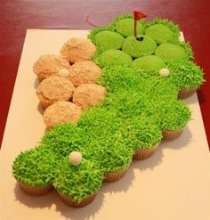 Golf course cupcakes: I really simplified this look. Instead of brown sugar for sand, I made tan frosting. Instead of piping grass, I did sprinkles. It still turned out good!