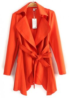 Love this color and style! Perfect brught color for Spring! Tangerine Orange Belted Peak Lapel Cotton Blend Trench Coat #tangerine #orange #trench #coat #fashion