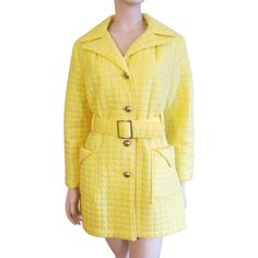 Mod Yellow Quilted Jacket Vintage 1960s Womens Matching Belt Brass Buttons - Exclusively at Vanity Flair Vintage on Ruby Lane
