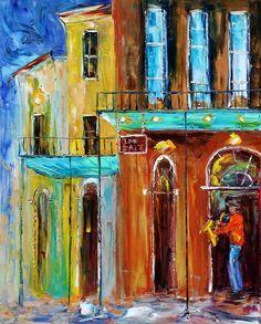 Original oil painting Bourbon St. New Orleans Jazz on canvas Landscape palette knife modern texture fine art impressionism by Karen Tarlton