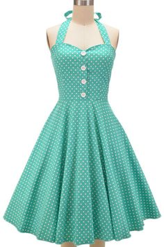 miss mabel sweetheart sun dress - mint polka dots $36