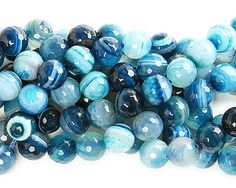 Sky blue striped agate faceted round beads (12mm)