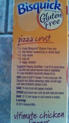 Gluten free pizza crust made with Bisquick Gluten Free Flour