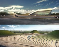Exhibition Center of Otog Kuan Wang located in Erdos, China sits atop a site surrounded by a public park. Kuan Wang's goal for the design was to cr Green Architecture, Futuristic Architecture, Sustainable Architecture, Contemporary Architecture, Landscape Architecture, Landscape Design, Architecture Design, Monumental Architecture, Timber Roof