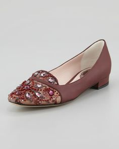 Leather and Lace Embellished Slipper, Burgundy by Rene Caovilla at Neiman Marcus.