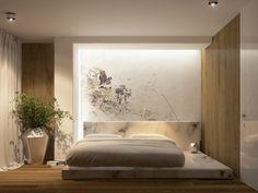 déco murale chambre adulte avec un grand lit tout confort