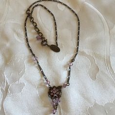 Super delicate gold tone choker with pink crystals Antique finish Liz Palacios Jewelry Necklaces