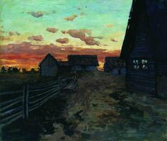 huts. After sunset. 1899. Isaac Ilyich Levitan