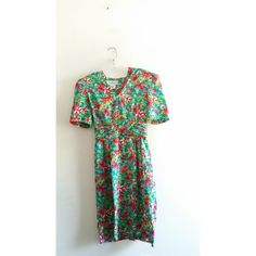 Vintage Maggie Boutique Colorful Floral Abstract Puff Shoulder Midi Dress Sz 10 Medium