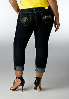 #plussize #dereon Roll Crop Denim Jean at www.curvaliciousclothes.com   Cropped skinny jean features a button/zip fly closure, 5 pocket style and contrast topstitching. Lurex embroidered detailing adorns back patch pockets. Logo charm affixed at back looped waistband.     NOW 15% OFF!
