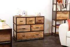 Commode industrielle bois massif INDUSTRIA - Zoom