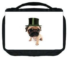 Pug in a Green Top Hat TM Small Travel Sized Hanging Cosmetic/Toiletry Case with 3 Compartments and Detachable Hanger-Made in the U.S.A. -- More info could be found at the image url. (Note:Amazon affiliate link)