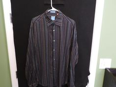 VLUXE Designer Blue Striped Super Soft Linen/Bamboo Shirt SZ L Mint Quick Ship #Vluxe #ButtonFront