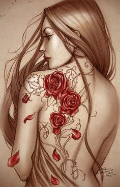 Rose tattoo colored by Sabinerich.deviantart.com on @deviantART