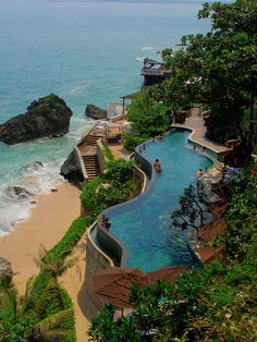 Beach Villa / Ayana Resort & Spa lower pool in Bali, Indonesia Places Around The World, Oh The Places You'll Go, Places To Travel, Places To Visit, Around The Worlds, Vacation Destinations, Dream Vacations, Vacation Spots, Beautiful World