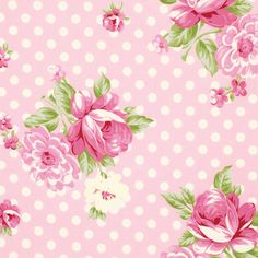 Out of Print Tanya Whelan Fabric, Roses and Mums Pink, Rosey, Designer Fabric, Half Yard Paper Background, Background Patterns, Scrapbook Paper, Scrapbooking, Shabby Chic, Free Spirit Fabrics, Fabric Roses, Print Wallpaper, Pattern Wallpaper