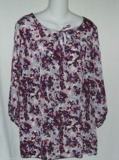 White Stag Purple  Print Top Size Medium  New with Tag