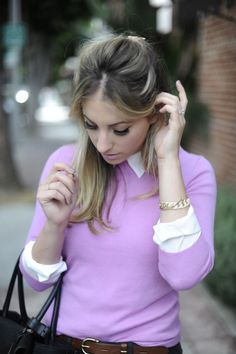 Look at those lashes on Emily Schuman of Cupcakes and Cashmere! Ivy Style, Style Me, Business Outfits, Fashion Beauty, Work Fashion, Fashion Ideas, Pullover, Color Combinations, My Hair