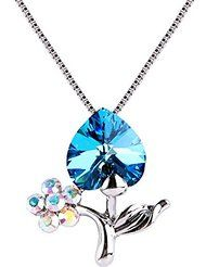 EleQueen Women's Silver-tone Bermuda Blue Tree of Life Love Heart Pendant Necklace Adorned with Swarovski® Crystals