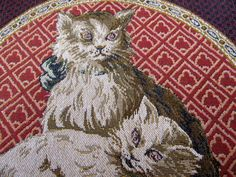 Hey, I found this really awesome Etsy listing at https://www.etsy.com/listing/164499513/frenchtapestry-cats-14-inch-pillow-front