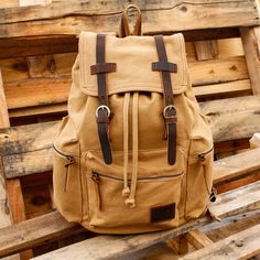 GEARONIC TM Men's Outdoor Sport Vintage Canvas Military BackBag Shoulder Travel Hiking Camping School Bag Backpack - Coffee