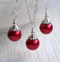 Scarlet Red Bridesmaid jewelry set Red Pearl by LaurinWedding, $14.00