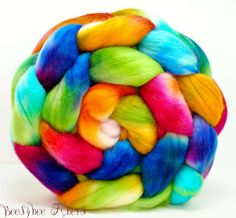 Hand Painted Wool Roving Merino Combed Top Spinning or by beesybee, $14.95