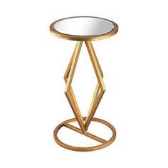 Vanguard Gold Leaf Mirrored Side Table