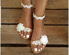 shoes pearl Wedding Shoes - Transparent Flower White Lace Rhinestone Ivory Crystal Embellished Custom Flat and Heels Wedding Sandals For Bride, Wedding Boots, Bridal Sandals, Bride Shoes, Wedding Day, Outdoor Wedding Shoes, Garden Wedding, Wedding Garters, Lace Wedding