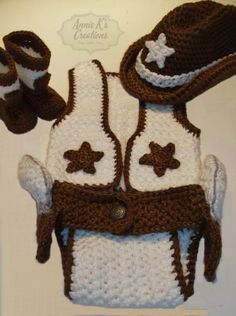 One of Kind 4 Piece Cowboy/girl Set  Crochet Unique