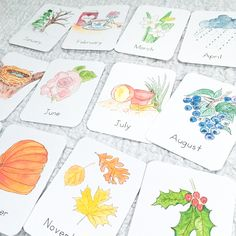 Months of the Year Flashcards - Green Urban Mama Creative Latin Language, French Language, April Rain, Snowy Trees, Cursive Fonts, Print Fonts, Watercolor Sketch, Months In A Year, Thing 1 Thing 2