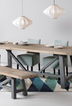 The Iona Dining Collection and Mist Pendant Lights. A collaboration between Living etc and MADE. MADE.COM